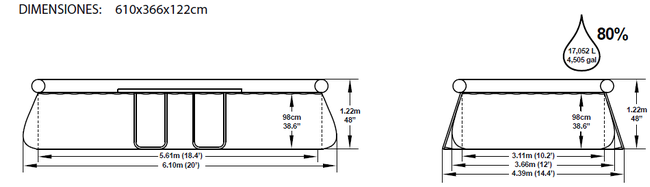 Piscina Bestway Fast Set 610x366x122 ref 56119