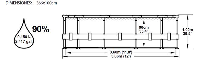 Piscina Bestway Steel Pro 366x100 ref 56260