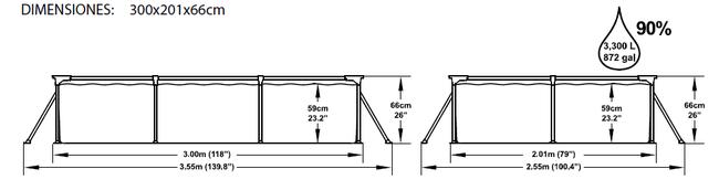 Piscina Infantil Rectangular Bestway Splash Frame 300x201x66 ref 56043 56078