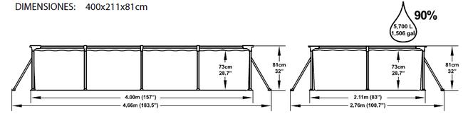 Piscina Infantil Rectangular Bestway Splash Frame 400x211x81 ref 56044 56082