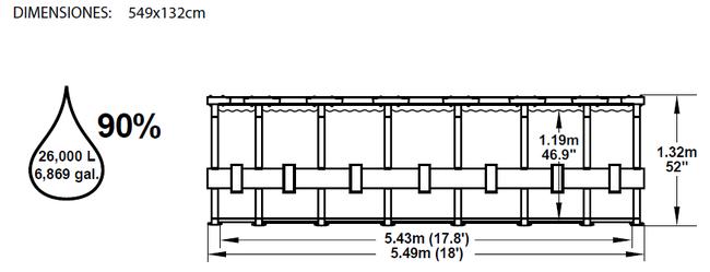 Piscina Bestway Steel Pro Ultra-Reforzada 549x132 ref 56232 56280