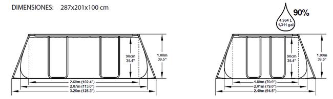 Piscina Bestway Rectangular Frame 287x201x100 ref 56248 56249