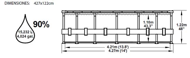 Piscina Bestway Steel Pro Ultra-Reforzada Rattan 427x122 ref 56335 56337